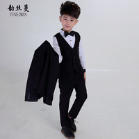 Boys Dress Suits Clothing Set 4 6 8 10 to 12 Years Fashion Gray Boys Blazer + Vest + Long Pants 3 Pieces Set Boys Outfits 5L60A