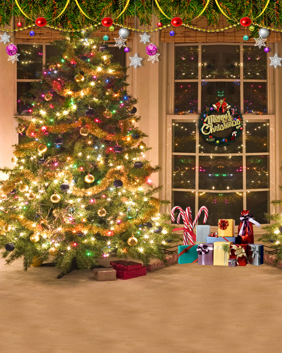 Customize photo studio background Christmas tree Eve photography backdrops vinyl cloth for children family photo taking L-816