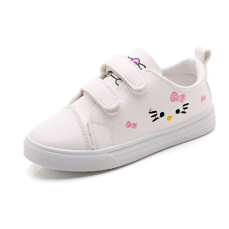 beb922cf1a27c KINE PANDA Big Girls Shoes Hello Kitty Princess PU Leather Children Casual  Sneakers Flatform Shoes Embroidered