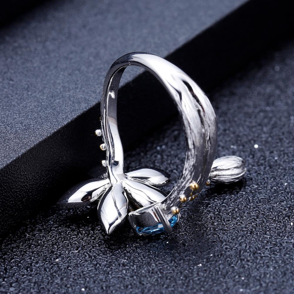 Image 4 - GEMS BALLET Natural Swiss Blue Topaz Gemstone Ring 925 Sterling  Silver Handmade Flowers Adjustable Open Rings for Women BijouxRings