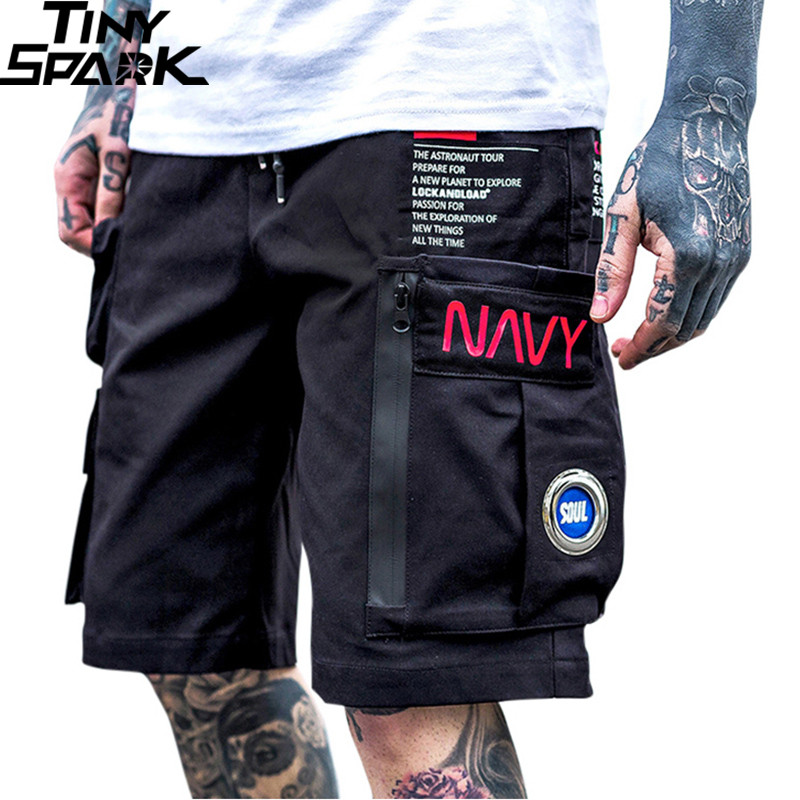 Men Hip Hop Short Joggers Streetwear 2019 Harajuku Cargo Shorts Zipper Pockets Summer Black Tatical Military Baggy Short Hipster