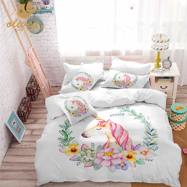 Einhorn Bettwäsche Set Rosa Designer Bettbezug Cartoon Tier Gedruckt