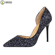 Luxury Designer Shallow Rhinestone Bling Women Pumps Classic Party Wedding Bridals Stiletto High Heels Sexy Ladies Pointed 2019