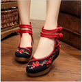 Chinese Style Plum Flower Embroidery Women Pumps old Beijing Inside Increased 5cm Soft Sole Cloth Shoes Woman