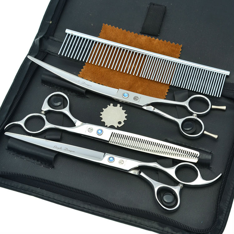 8 0 3pcs set Pet Hair Scissors Set Professional Dog Grooming Cutting Thinning Curved Shears JP440C