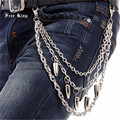 Hot Selling 3 Strands Silver Metal Classic Bullet Pendant Trousers Key Wallet Chain Manly Punk Rock Style Jeans Pant Chain J12