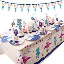 Set di stoviglie di dinosauro di carta usa e getta per animali piatti tazze cannucce tovaglia decorazione della tavola per la festa a tema di nozze di compleanno