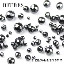 BTFBES Faceted Hematite Natural Black Stone beads Round Loose ball Selectable 3/4/6/8/10MM For Jewelry bracelet Making DIY