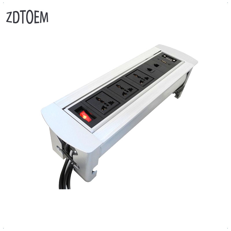 2017 high quality Multifunctional USB Electric Tabletop/Desktop Manual Flipping Rotation Socket with EU/US Plug and Switch manual flipping socket with 3 eu power and charge usb 50 pcs by dhl suit for indonesia chile italy oman korea netherlands