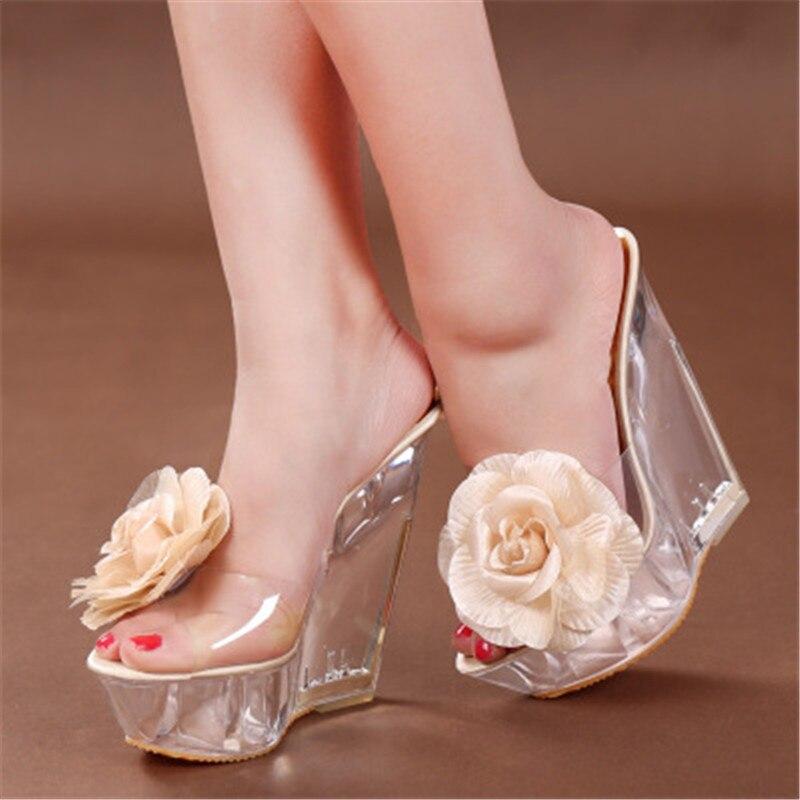 Feiyitu Women Shoes Heel Platforms High-Transparent Thick-Bottom Slope 14cm Super-High