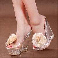 FeiYiTu Women Shoes Thick Bottom Super High Heel 14cm S High Transparent Special shaped Crystal Shoes Platforms Slope Heel