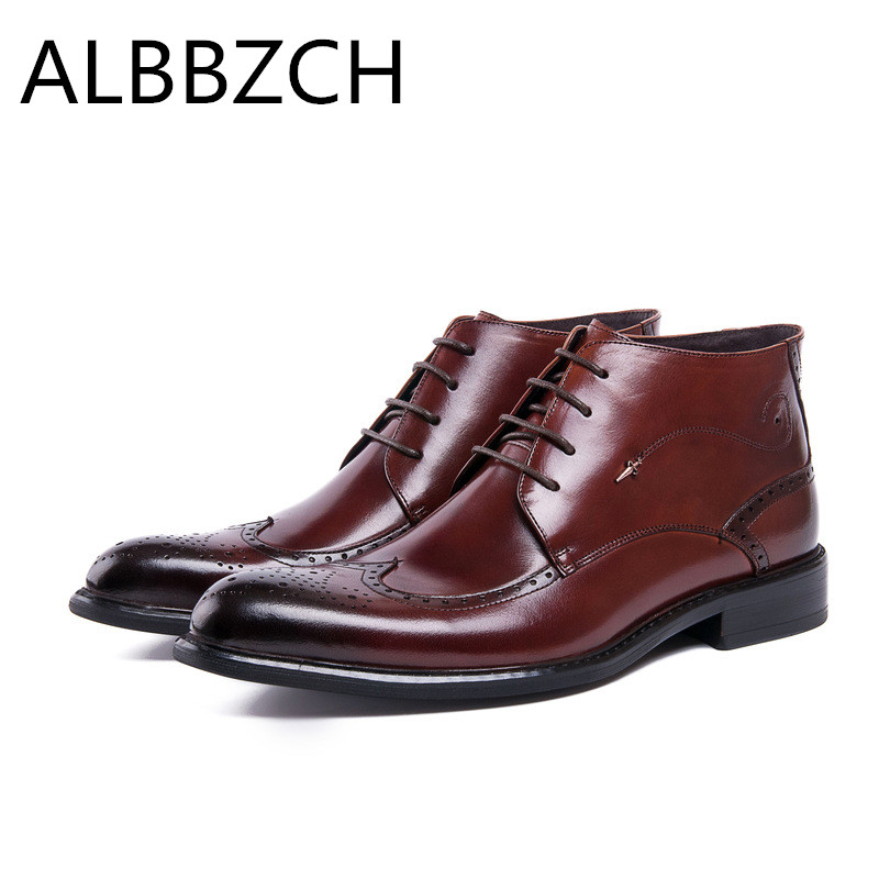New business dress men boots pointed toes lace mens genuine leather ankle boots fashion rivets carving brogue work boots shoes