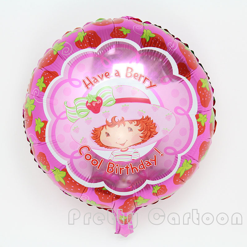 10pcs/lot round pink foil balloons strawberry BALLOON Birthday Happy Birthday Ba