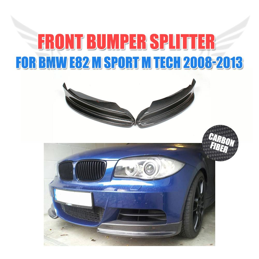 Carbon Fiber Front Bumper Aprons Splitters For <font><b>BMW</b></font> 1series 128i <font><b>135i</b></font> <font><b>E82</b></font> M Sport 2008 - 2011 Front Lip Splitters Car styling image