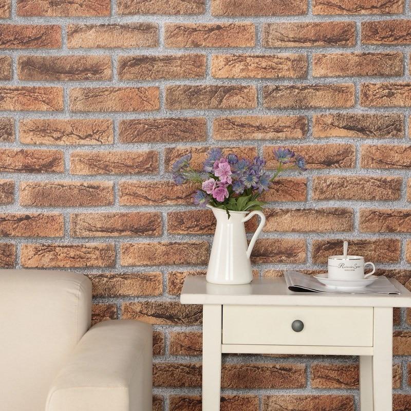 ФОТО PVC Self-adhesive Wallpaper Waterproof Retro Brick Wall Wallpaper Restaurant Bedroom Home Decor Wallpaper Papel De Parede 3D