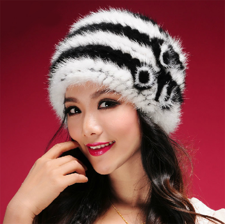 FREE SHIPPING* MINK FUR KINTTED CAP/REAL MINK FUR CAP / GENUINE MINK FUR HAT*SU-1303