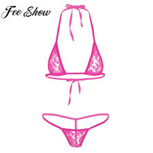 Femmes Sexy Dentelle Lingerie Voir À Travers Sheer Dos Nu Mini micro-bikini  Soutien-Gorge avec sous-vêtements en string Femmes e. 32d3f167fd2