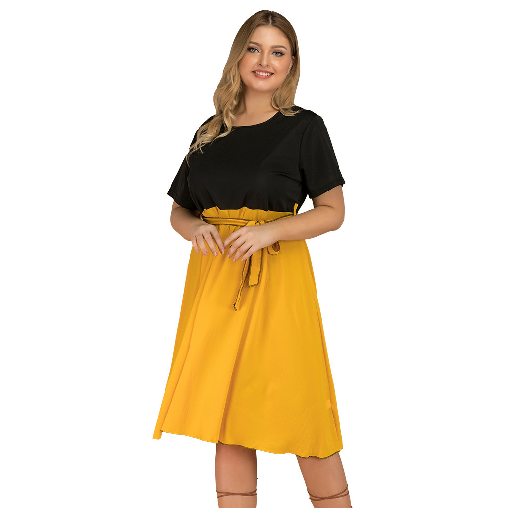 Womens Plus Size Dresses Short-Sleeved O-neck Pure Color Patchwork High Waist Pleated O-Neck Dress Woman Casual Fashion Sundress