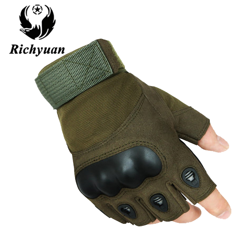 Richyuan Bicycle Outdoor Tactical Military Gloves Sports Gym Army Paintball Airsoft Fingerless Carbon Half Finger Luva Gloves