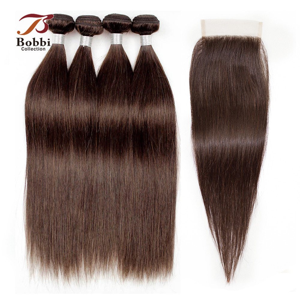 3/4 Bundles With Closure Color 2 Dark Brown Pre-Colored Peruvian Straight Hair Non Remy Human Hair Extensions BOBBI COLLECTION