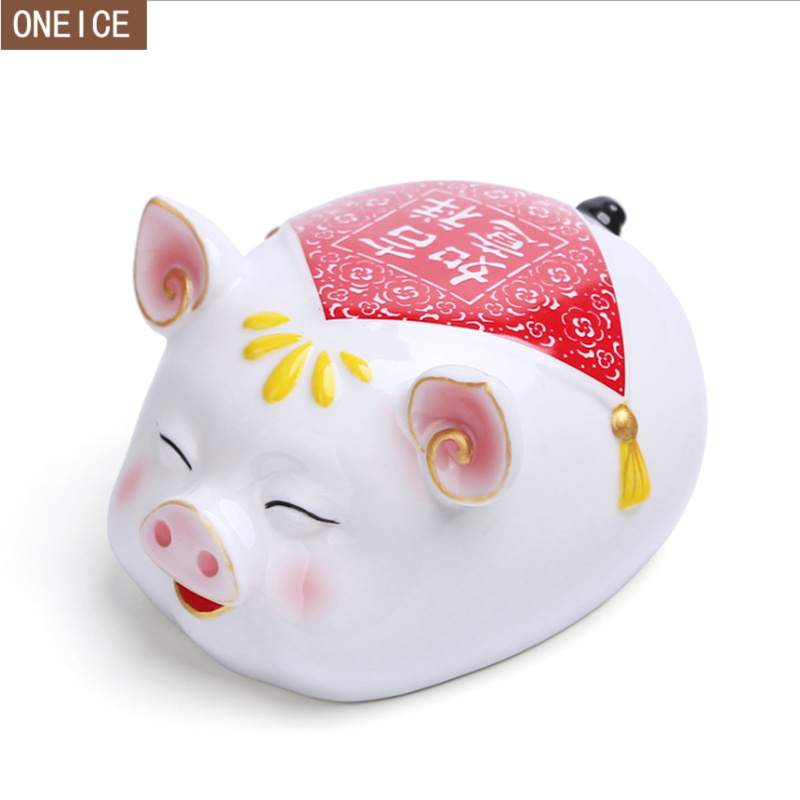 2019 Pig Year Piggy Bank Large Capacity White Ceramic Children Coin Box Home Decoration Souvenir Free Delivery