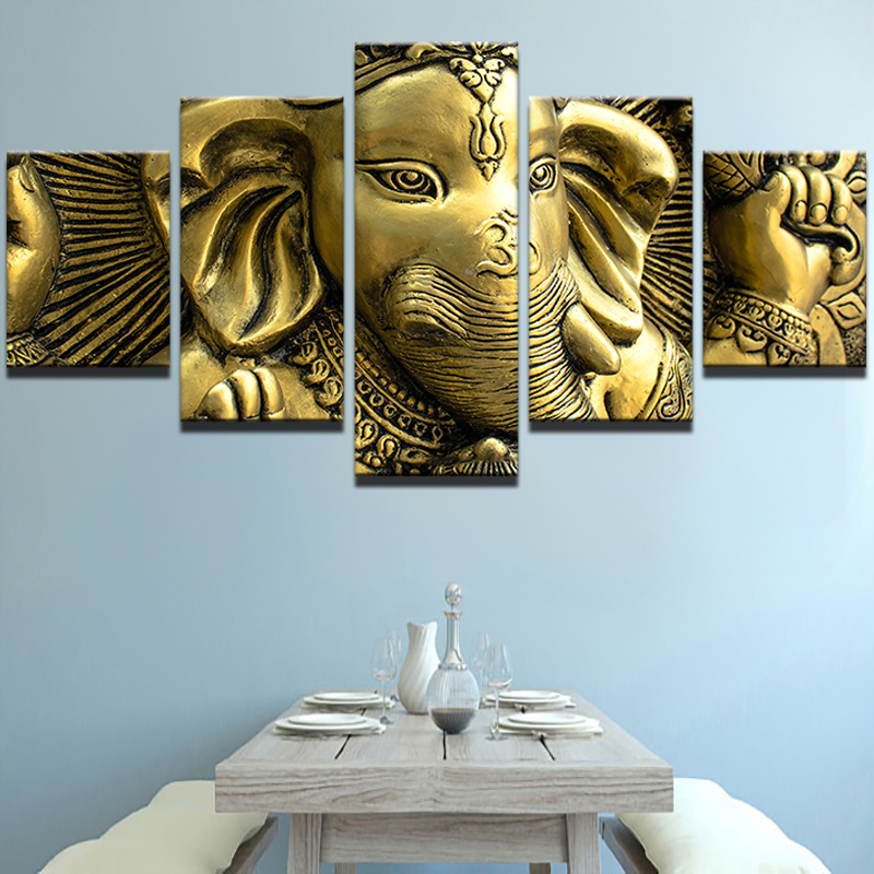 Canvas Wall Art Pictures Home Decor Living Room Hd Printed 5 Piece India Elephant Head Ganesh Painting Modular Poster Pengda In Calligraphy
