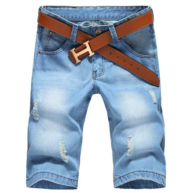 Large size Men Hole Denim Shorts Male short jeans  2016 New summer casual Light blue short jeans short pants Size 42 No Belt