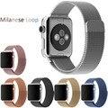 Milanese laço correia & link pulseira de aço inoxidável banda de luxo fechamento ajustável para apple watch 42mm 38mm pulseira awmlmcs