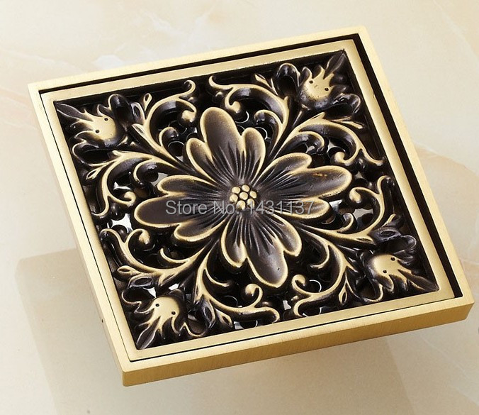 Euro Style Antique Brass Art Carved Brass Floor Drain Cover Shower Waste Drainer bathroom accessories цена