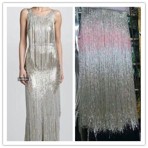 40-50cm wide long pearl fringe gold silver beaded lace garment dress for wedding  dress eb2bc1350119