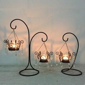 Świecznik szklany Vintage marokański styl europejski świecznik na tealighty świecznik wisząca latarenka do dekoracji ślubnej domu