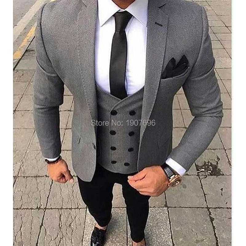 Slim Fit Mens Suit in Grey with Waistcoat Suit Wedding Stage-Jacket