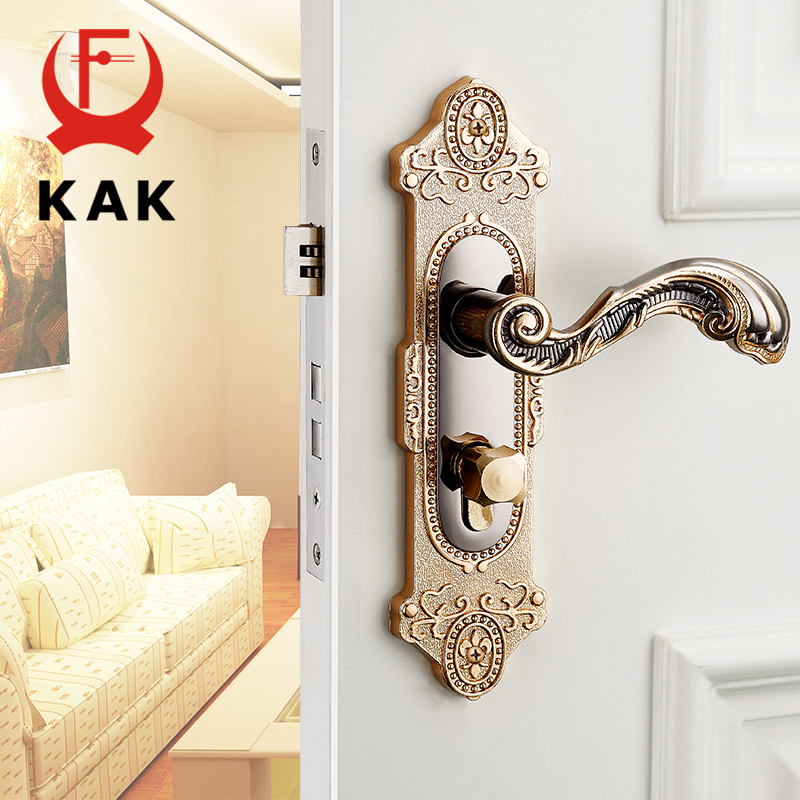 KAK European style Mute Room Door Lock Handle Fashion Interior Door Knobs Lock Luxurious Anti-theft Gate Lock Furniture Hardware
