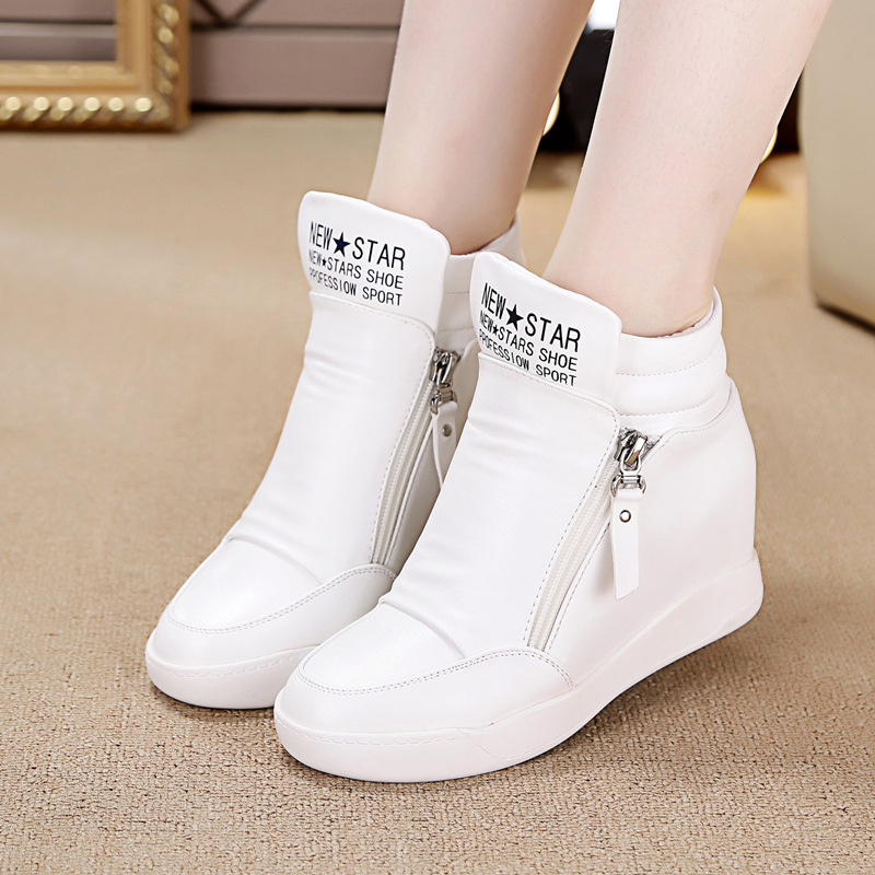 SWYIVY Hided Wedge Sneakers Woman High Top 2019 Spring Autumn Female Casual White Shoes Waterproof Woman Sneakers Vulcanize