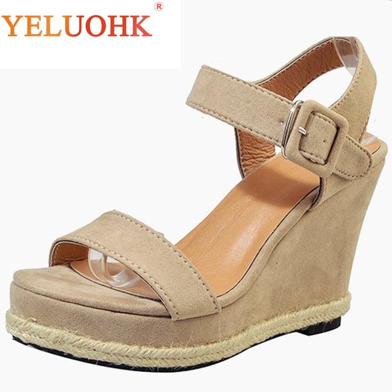 High Heel Sandals Women Fashion 2018 Summer Platform Sandals Wedges Shoes Black Beige vtota summer shoes woman sandals wedges fashion women shoes high heeled shoes thick heel sandals waterproof platform shoes x326