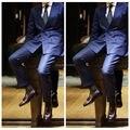 De Calidad superior Azul Trajes Traje de Boda Esmoquin Tailor Made Slim Fit Traje Homme Traje Homme Plus Tamaño Tenro