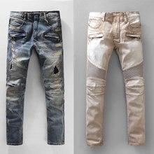 2019 High Street Fashion Men Jeans Destroyed Ripped Motor Biker Homme New Pants