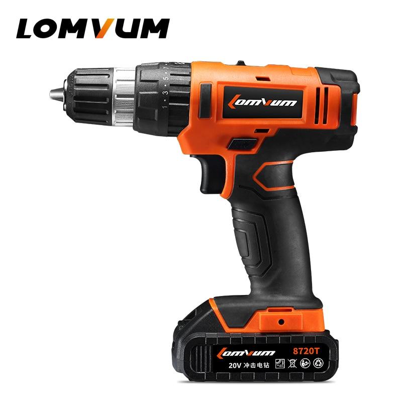 LOMVUM 20V Multi function Screwdriver 2 Speed Impact Cordless Drill Battery Hammer Function Power Tools Plastic