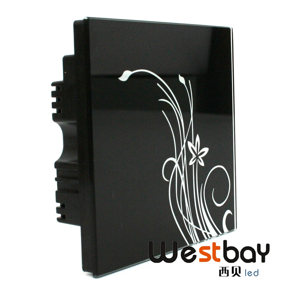 Free shipping 110V 220V black color touch glass panel wall switch,1gang 2way luxury light switch,touch on/off smart switch