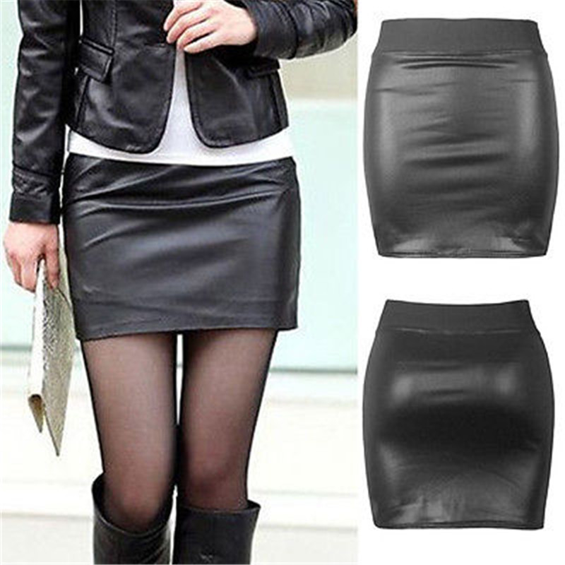 2019 Fashion Pu Leather Skirt Women Solid Black Mini Skirt Package Hip High Waist Skirts For Women Sexy Bottoms Clothing Jupes