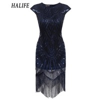 HALIFE 2018 Fashion Women Retro Flapper Dress Tassel 1920s Gastby Wedding Party Midi Office Sequin Dress Vintage Robe Femme 915