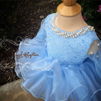 Baby blue Knee length open back long sleeves organza flower girl dresses with bow baby birthday party gown with pearls crystals