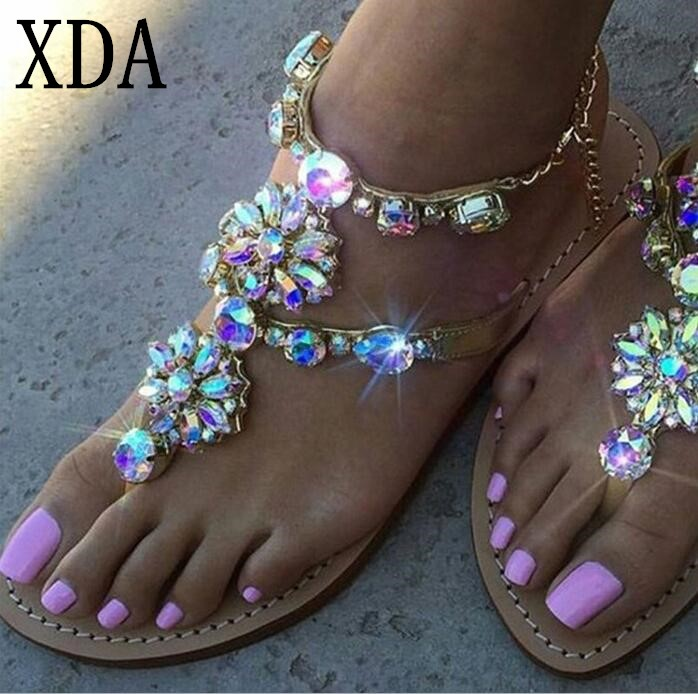 XDA 2018 new Woman summer low heel Sandals Women Shoes Crystal Chains sandals Gladiator Flat summer Sandals Plus Size 35-43 F176