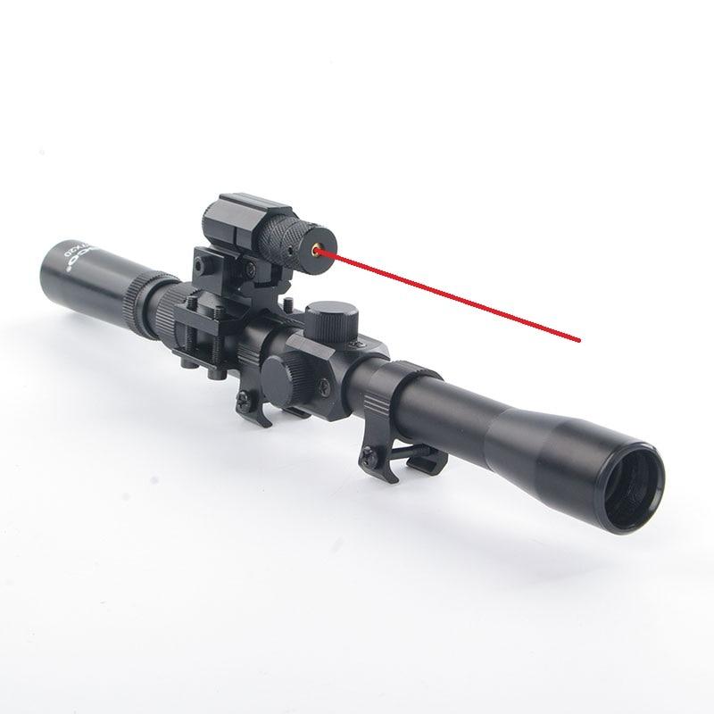 Rifle Softair 3-7x20 alcances + mira telescópica láser roja de caza - Caza