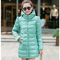 New College Wind Winter Coat Women Thin Hooded Down Cotton Jacket Medium-Long Slim Outwear k609