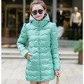 New College viento mujeres abrigo de invierno delgada encapuchados por la chaqueta de algodón medio largo delgado Outwear k609