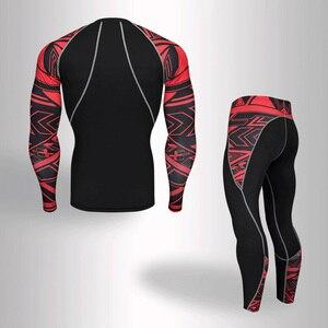 ملابس رياضية للرجال 2018 الرجال mma crossfit t-shirt طفح الحرس كم طويل ضغط الملابس الداخلية الحرارية مجموعة الرجال