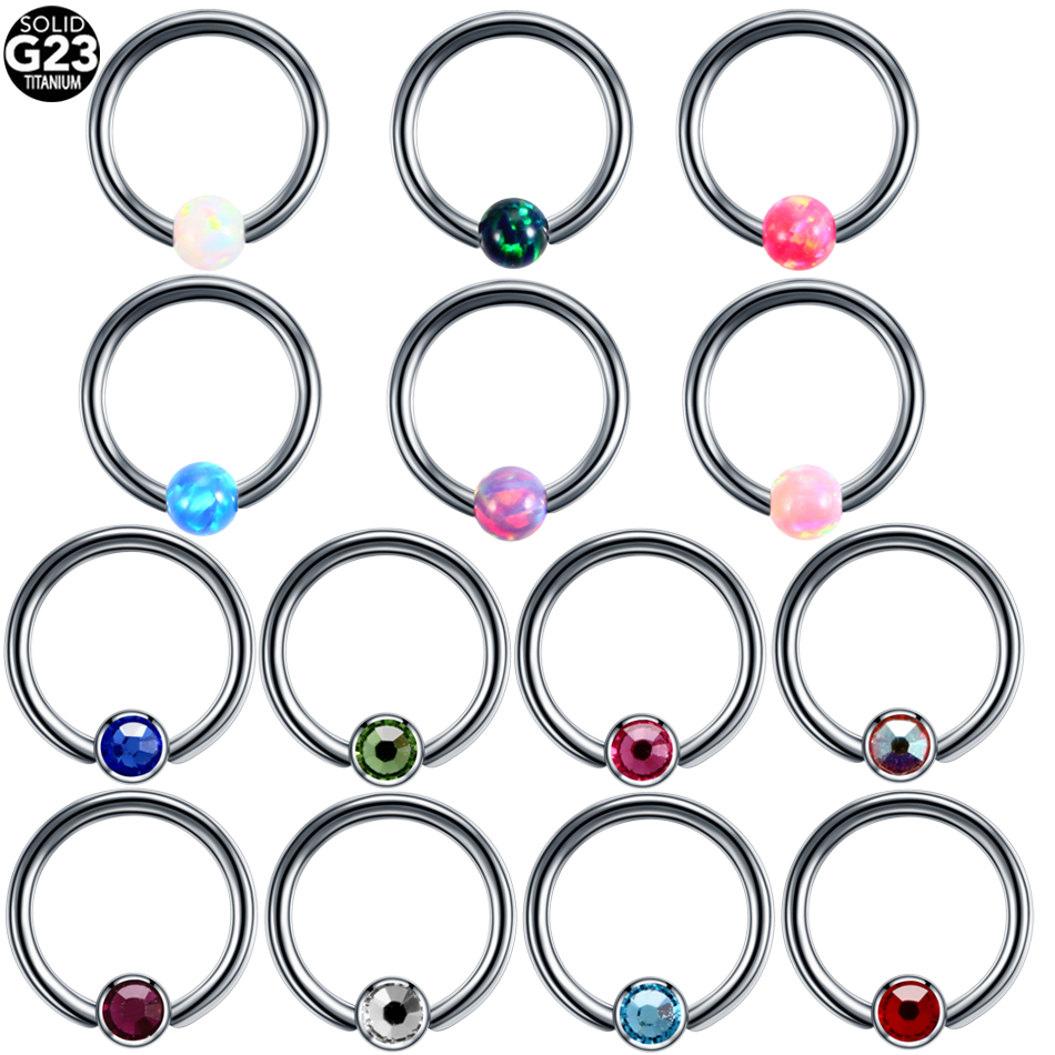 16g Titanium Opal Captive Bead Ring Horseshoe Circular Piercings