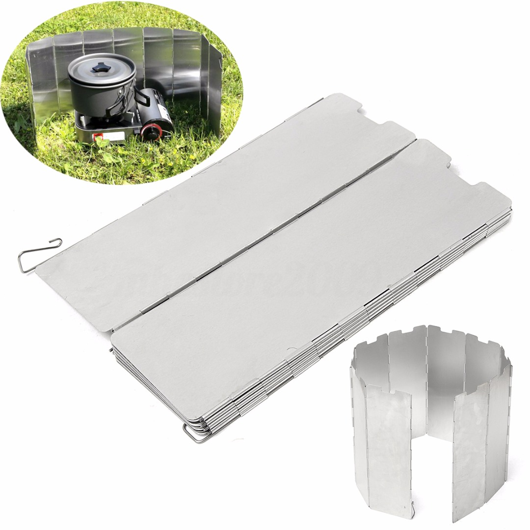 Mayitr Silver Foldable ELOS-10 plates Fold Camping Picnic Cooker Gas Stove Wind Shield Screen Outdoor