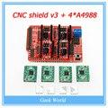 El envío gratuito! nuevo V3 escudo CNC máquina de grabado/3D Impresora/+ A4988 controlador de tarjeta de expansión
